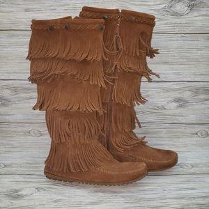Minnetonka Brown 5 Layer Fringe Tall Boots
